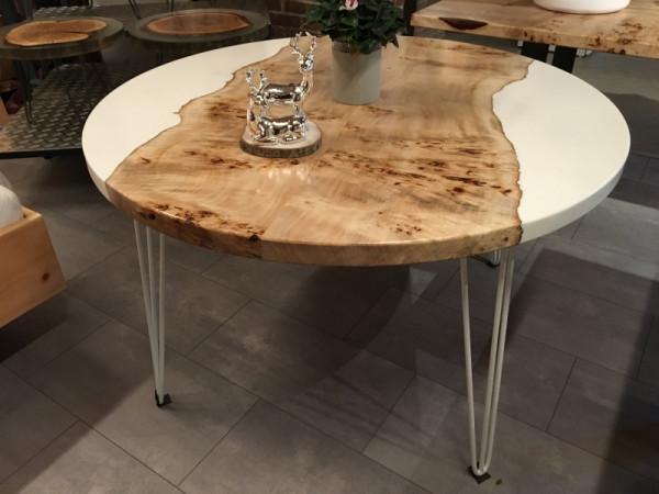 Siegelholz Tisch Maserpappel Massiv mit Epoxidharz, Rund, weiß